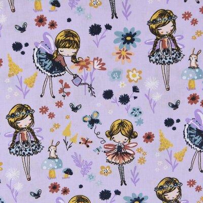 Poplin imprimat - Magical Garden Lilac