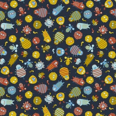 Poplin imprimat - Monsters Navy