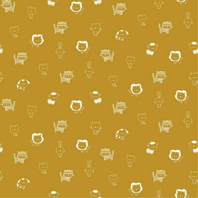 Poplin imprimat - Petite Animals Ochre