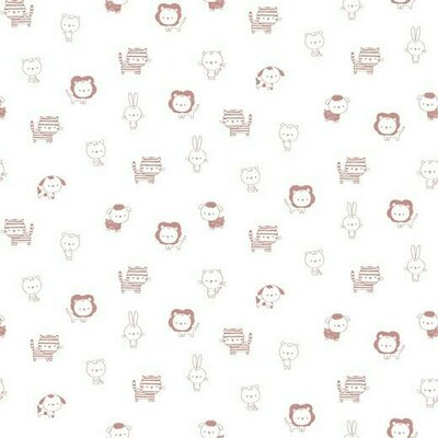 Poplin imprimat - Petite Animals White-Blush