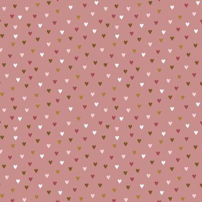 Poplin imprimat - Rainbow Hearts Blush