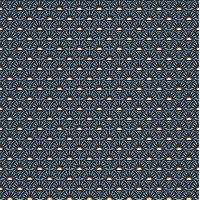 Poplin imprimat - Retro Graphics Navy