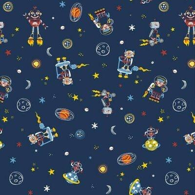 Poplin imprimat - Space Dudes Navy