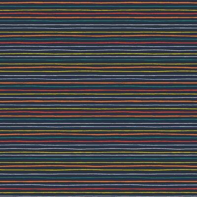 Poplin imprimat - Space Stripes Navy