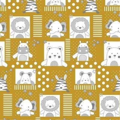 Poplin imprimat - Sweet Baby Animals Ochre