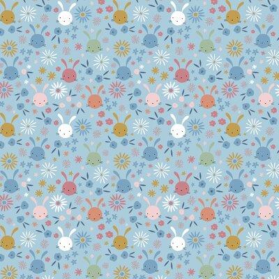 Poplin imprimat - Sweet Bunny Light Blue