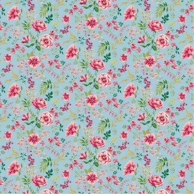 Poplin imprimat - Sweet Flower Light Blue