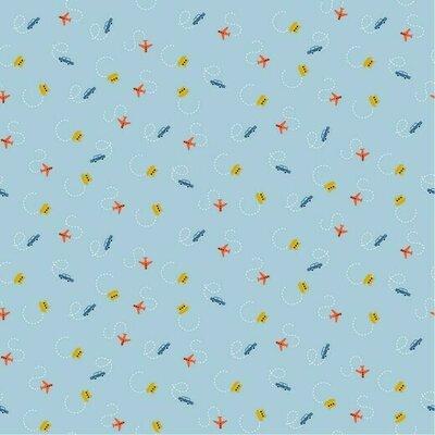 Poplin imprimat - Tiny Traffic Light blue