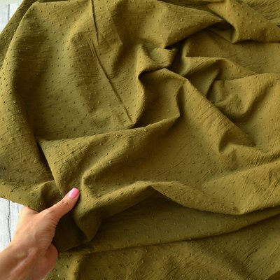 Voal de bumbac cu buline brodate - Plumetis Bronze