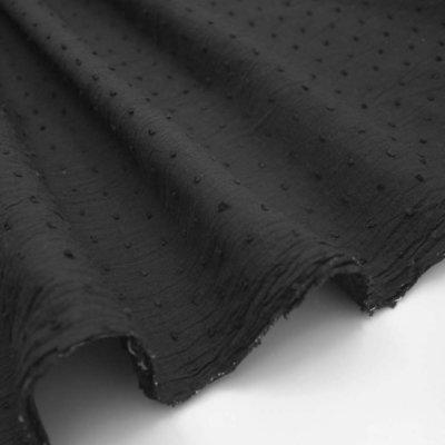 Voal de bumbac cu buline brodate - Plumetis Negru