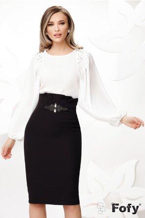 Bluza dama eleganta alba cu maneci largi si aplicatii de perle si strassuri