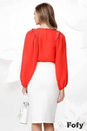 Bluza dama eleganta corai cu maneci largi si aplicatii de perle si strassuri