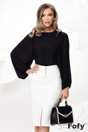 Bluza dama eleganta neagra cu maneci largi si aplicatii de perle si strassuri