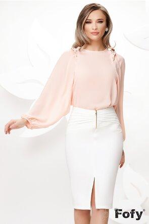 Bluza dama eleganta roz cu maneci largi si aplicatii de perle si strassuri