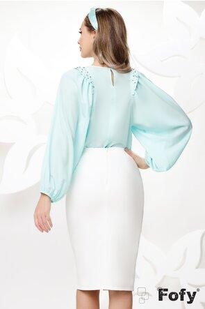 Bluza dama eleganta turcoaz cu maneci largi si aplicatii de perle si strassuri