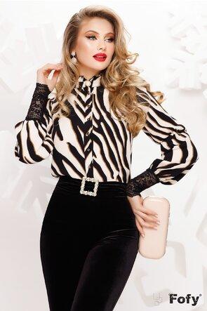 Bluză  dama Fofy elegantă animalprint  si dantela