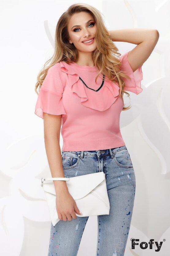 Bluza dama roz cu maneca scurta tricotata cu volan de voal