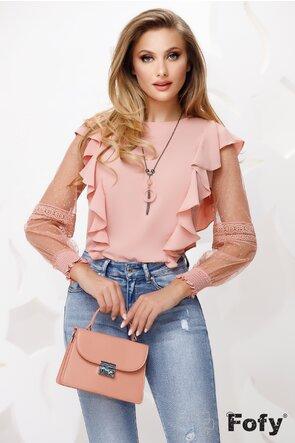 Bluza dama roz din voal cu maneci din dantela si tul cu colier inclus
