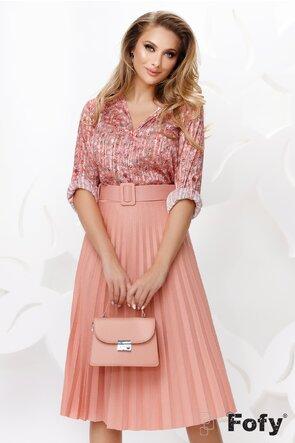 Bluza dama roz din voal satinat cu fir de lurex