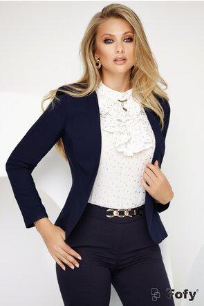 Bluza Fofy alba cu jabou si aplicatie decorativa aurie