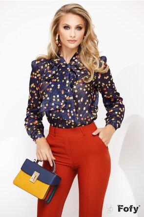 Bluza Fofy bleumarin din voal cu patratele colorate