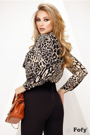 Bluza Fofy dama din voal cu esarfa innodata si imprimeu animal print