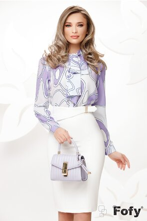 Bluza Fofy dama eleganta cu funda maxi imprimeu geometric tonuri de lila