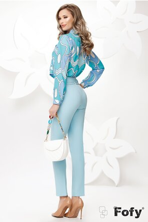 Bluza Fofy dama eleganta cu funda maxi imprimeu geometric tonuri de turcoaz
