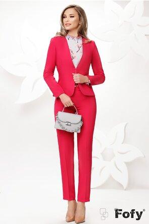 Bluza Fofy dama gri eleganta imprimeu flori de cires mansete late incretite