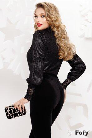 Bluză Fofy elegantă din lurex negru si dantela
