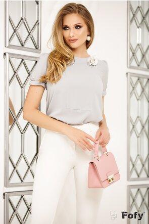 Bluza Fofy gri  maneca scurta brosa perla roz