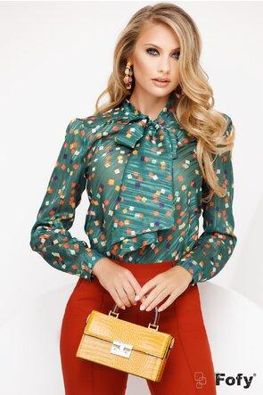 Bluza Fofy verde din voal cu patratele colorate