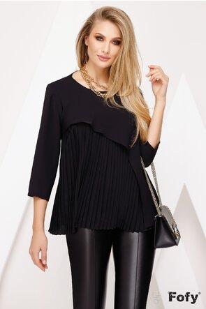 Bluza neagra cu volan asimetric si pliseu elegant