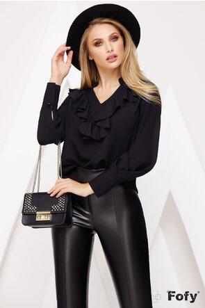 Bluza neagra cu volan si guler tunica