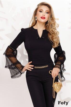 Camasa body Fofy dama neagra eleganta cu maneci elborate