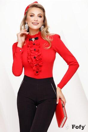 Camasa dama Fofy roșie cu jabou si brosa