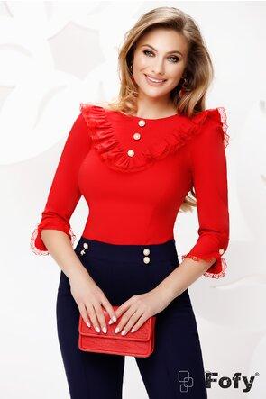 Camasa dama Fofy rosie cu volane dantela și nasturi perle