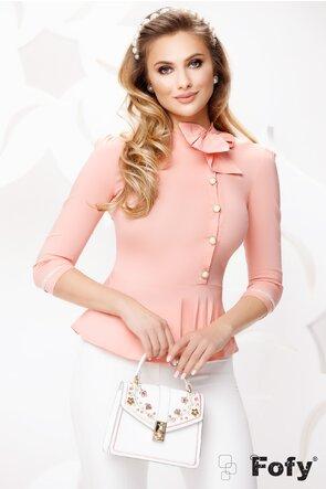 Camasa dama Fofy roz cu funda intr o parte , nasturi cu perle si peplum