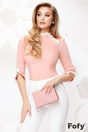 Camasa dama Fofy roz cu maneci si guler din volane si nasturi pretiosi
