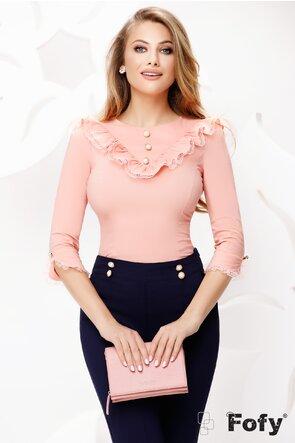 Camasa dama Fofy roz cu volane dantela și nasturi perle
