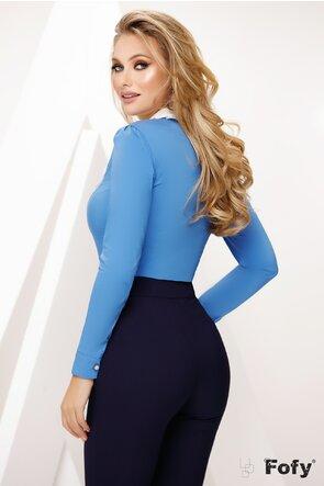 Camasa de dama Fofy bleu cu platca