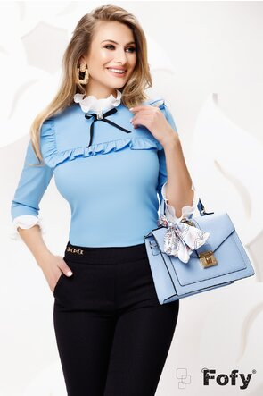 Cămașă de dama Fofy bleu eleganta cu platca și volane