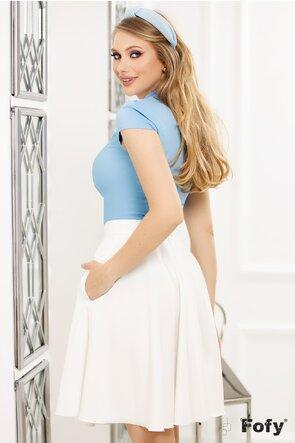 Camasa Fofy bleu cu guler tunica aplicatii dantela si papion cu perla