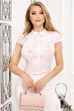 Camasa Fofy bumbac roz cu dungulite albe cu jabou dantelat si perla