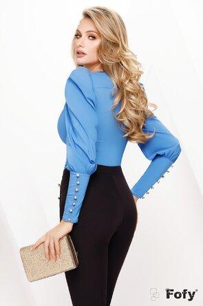Camasa Fofy dama albastra cu mansete late si nasturi cu strass