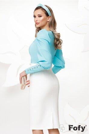 Camasa Fofy dama eleganta aqua cu mansete late si nasturi cu strass