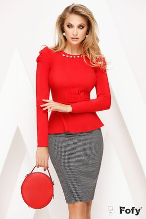 Camasa Fofy dama rosie cu pliuri frontale si peplum elegant