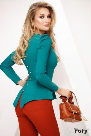 Camasa Fofy dama verde cu pliuri frontale si peplum elegant