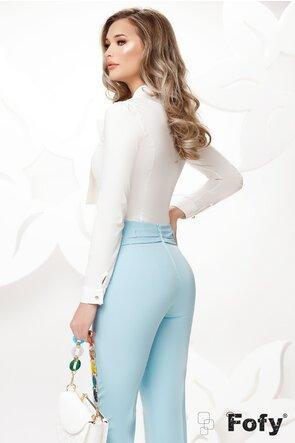 Camasa Fofy ecru cu funda maxi si brosa stilizata inclusa