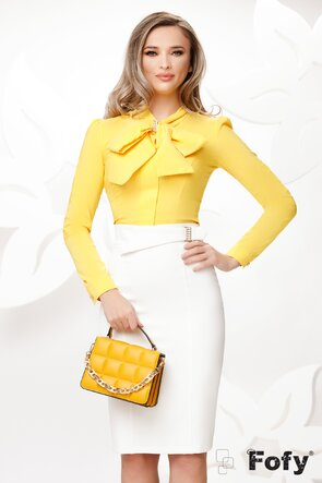 Camasa Fofy  eleganta galbena cu funda maxi si accesoriu inclus